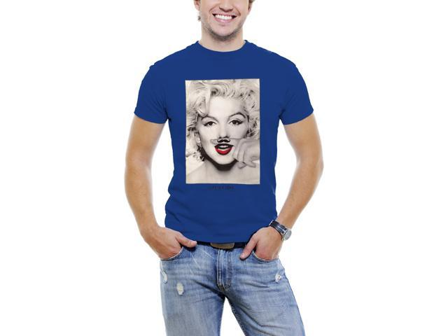Marilyn Monroe Finger Mustache Men T-Shirt Soft Cotton Short Sleeve Tee [Royal Blue]