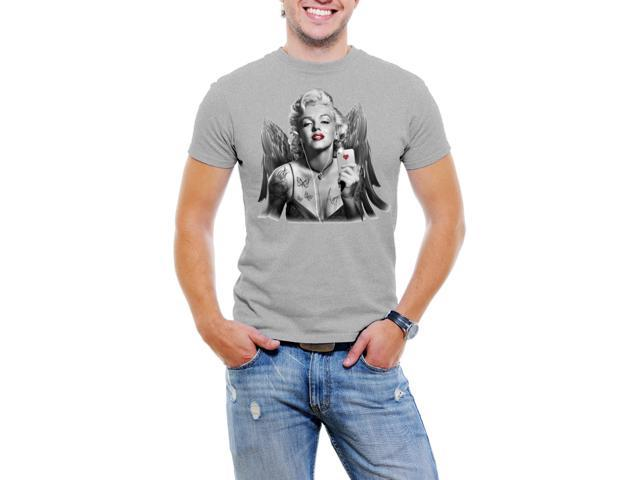 Marilyn Monroe iPhone and Wings Men T-Shirt Soft Cotton Short Sleeve Tee  [Light Grey]