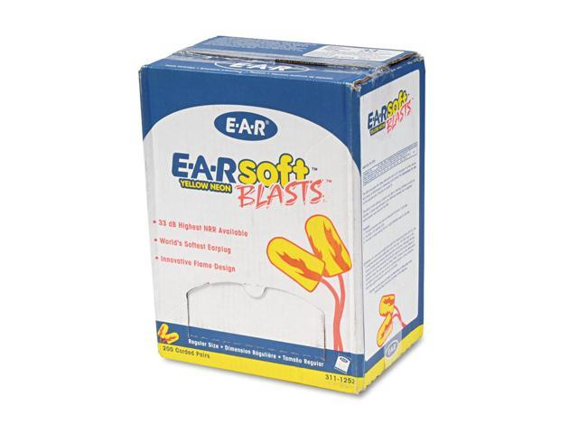 Earsoft Blasts Earplugs, Corded, Foam, Yellow Neon, 200 Pairs