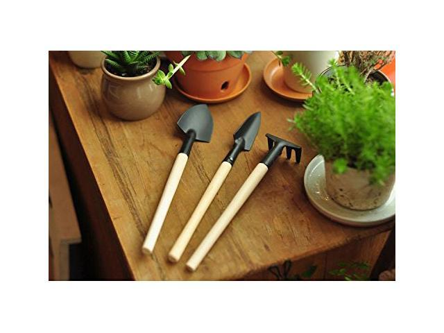 Foxnovo A Set of 3pcs Mini Garden Planting Gardening Tools Shovel Rake Spade with Wooden Handle (Black)