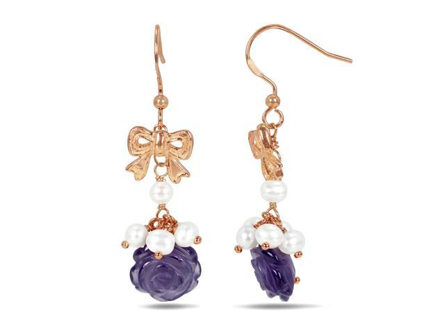 Sofia b 5 1 2 ct amethyst and 3 4 mm freshwater pearl rose plated