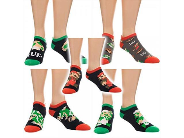 Super Mario Classic 5 Pack Of Ankle Socks