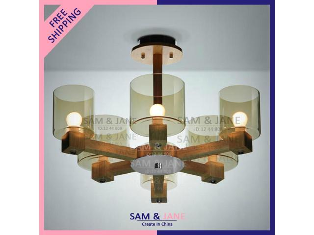 6 lamps e14 wood modern chandeliers country light fixtures for Country lighting fixtures for home