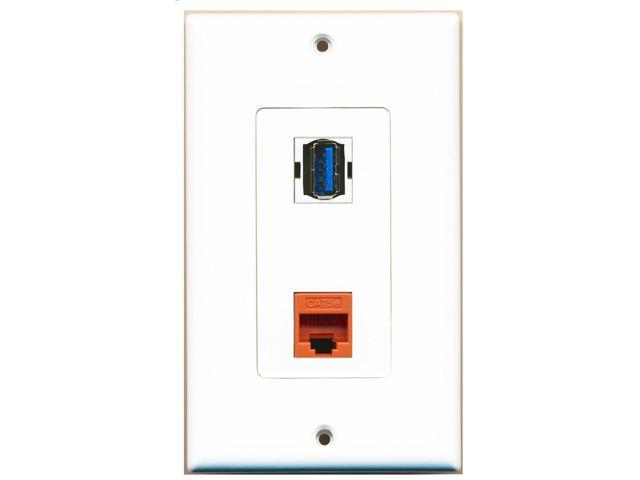 RiteAV - 1 Port Cat5e Ethernet Orange 1 Port USB 3 A-A Decorative Wall Plate