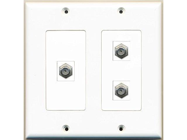 RiteAV - 3 Port Coax Cable TV- F-Type - 2 Gang Wall Plate