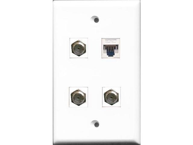 RiteAV - 3 Port Coax Cable TV- F-Type and 1 Port Cat5e Ethernet White Wall Plate