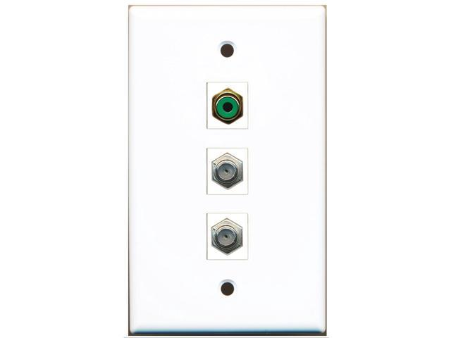 RiteAV - 1 Port RCA Green 2 Port Coax Cable TV- F-Type Wall Plate