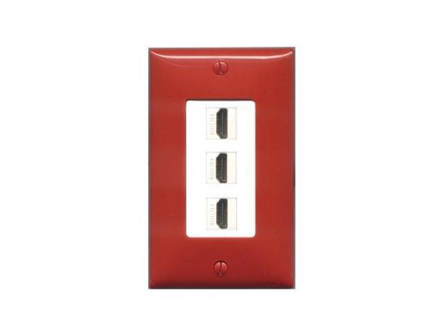 RiteAV - Red and White 3 HDMI Port Wall Plate White Decorative