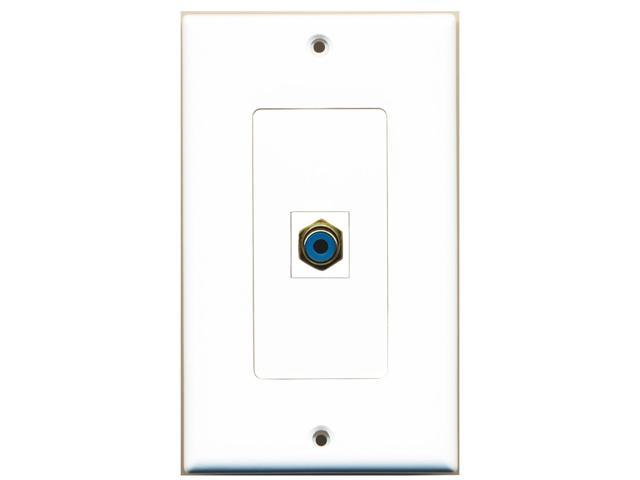 RiteAV - 1 RCA Blue for Subwoofer Audio Port Wall Plate Decorative White