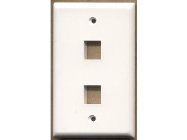 2 Port Keystone Wall Plate White - Pack of 5