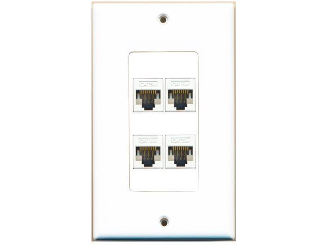 RiteAV - 4 Port Cat5e Ethernet Female-Female (Single Gang) White Wall Plate (...