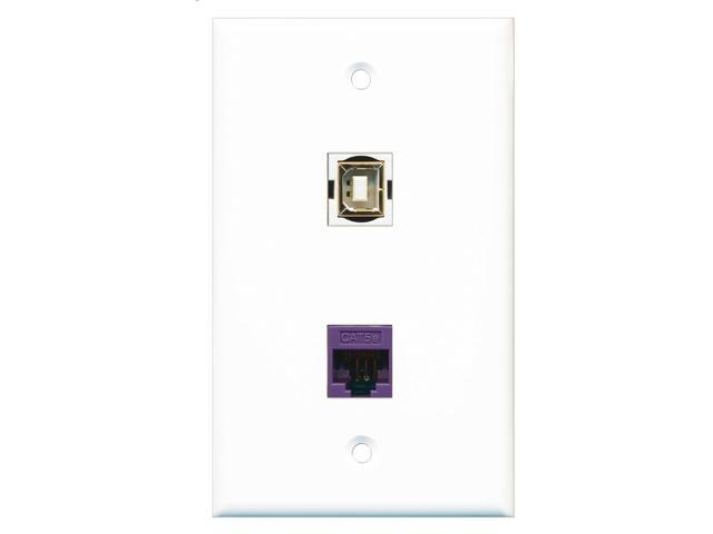 RiteAV - 1 Port Cat5e Ethernet Purple 1 Port USB B-B Wall Plate