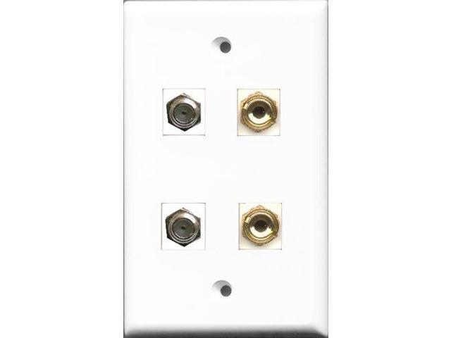 RiteAV - 2 Port Coax Cable TV- F-Type 2 Port Banana Speaker Wall Plate