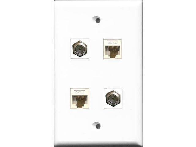 riteav - 2 port coax cable tv- f-type 2 port cat6 ethernet white wall plate
