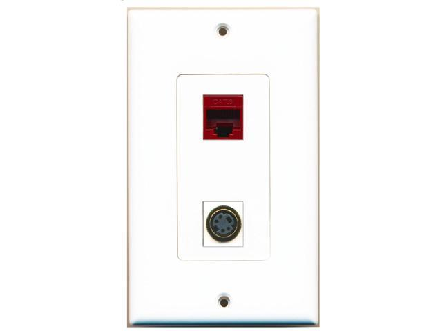 RiteAV - 1 Port S-Video 1 Port Cat6 Ethernet Red Decorative Wall Plate
