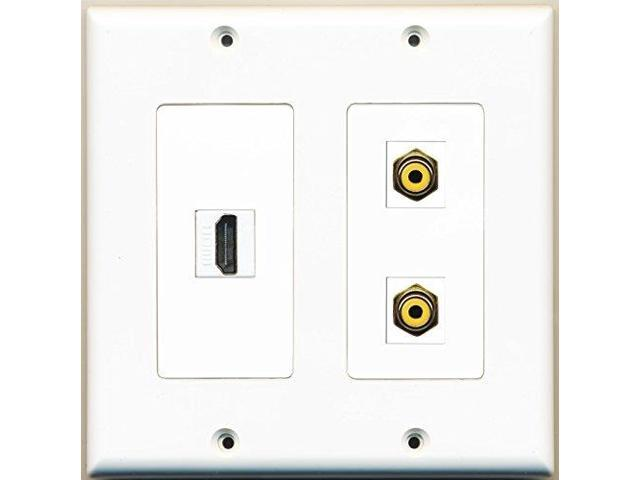 RiteAV - 1 Port HDMI 2 Port RCA Yellow - 2 Gang Wall Plate