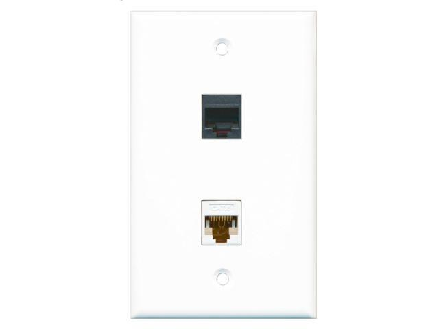 RiteAV - 1 RJ11 RJ12 Black Phone Port and 1 Cat6 White Ethernet Port Wall Plate