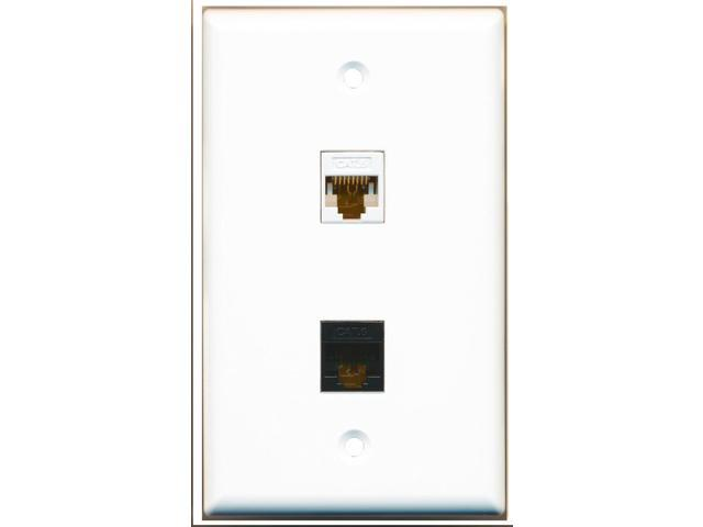 RiteAV - 1 Cat6 Black and 1 Cat6 White Ethernet Port Wall Plate