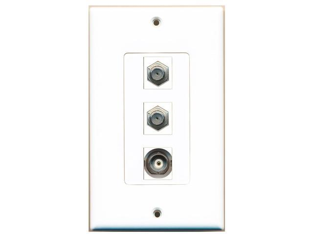 RiteAV - 2 Port Coax Cable TV- F-Type and 1 Port BNC Decora Wall Plate Decora