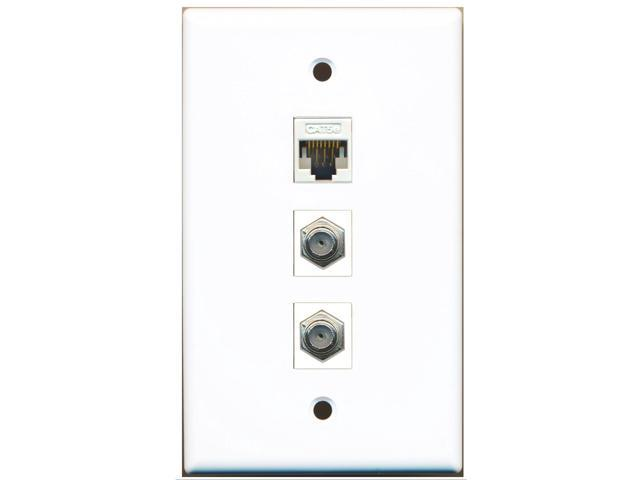 RiteAV - 2 Port Coax Cable TV- F-Type and 1 Port Cat5e Ethernet White Wall Plate