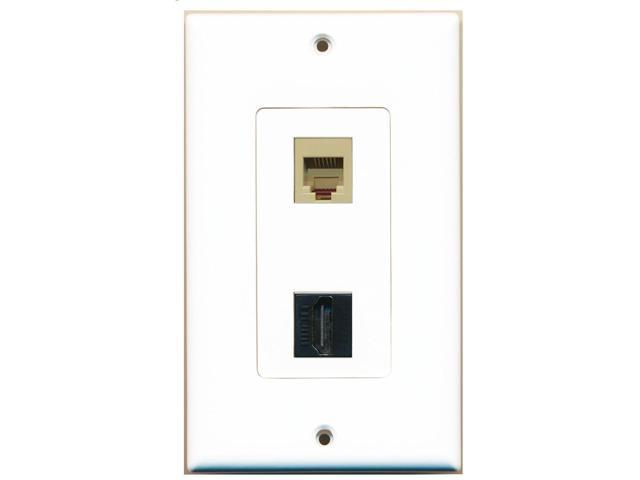 RiteAV - 1 Port Phone Beige 1 Port HDMI Black Decorative Wall Plate