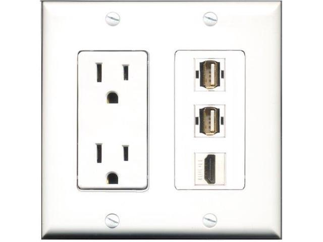 RiteAV - 15 Amp Power Outlet 1 Port HDMI 2 Port USB A-A Decora Wall Plate