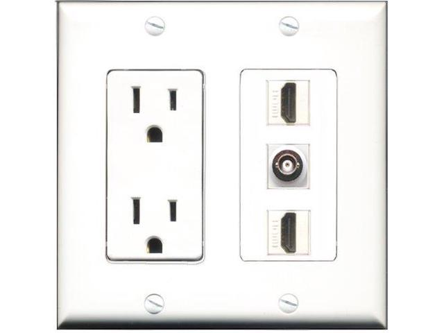 RiteAV - 15 Amp Power Outlet 2 Port HDMI 1 Port BNC Decora Wall Plate