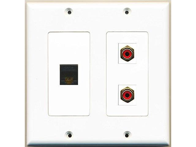 RiteAV - 2 Port RCA Red 1 Port Cat6 Ethernet Black - 2 Gang Wall Plate