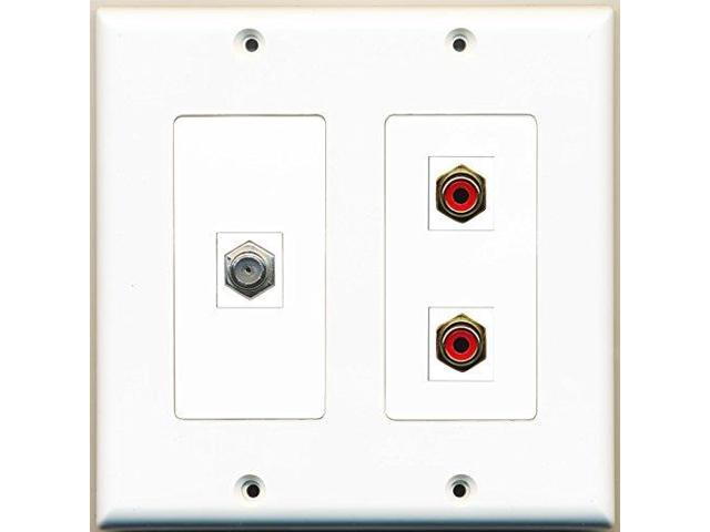 RiteAV - 2 Port RCA Red 1 Port Coax Cable TV- F-Type - 2 Gang Wall Plate