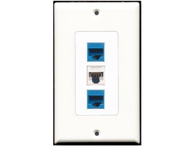RiteAV - 1 Port Cat5e Ethernet White 2 Port Cat5e Ethernet Blue Wall Plate De...
