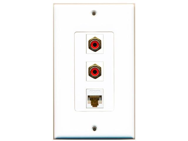 RiteAV - 2 Port RCA Red and 1 Port Cat6 Ethernet White Decora Wall Plate Decora