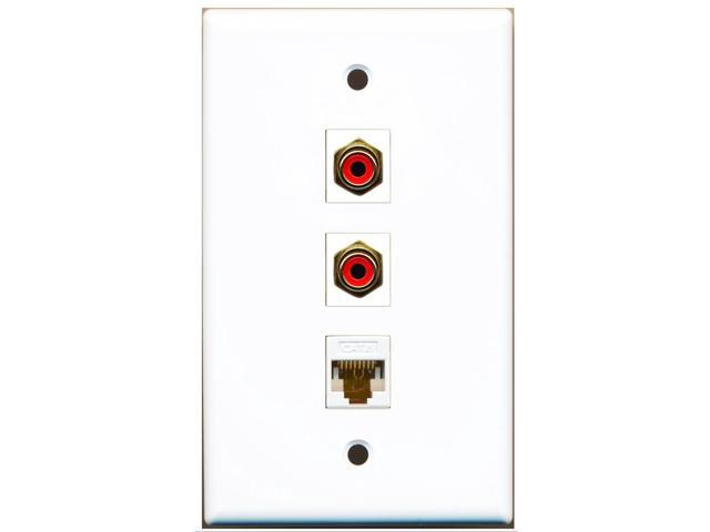 RiteAV - 2 Port RCA Red and 1 Port Cat6 Ethernet White Wall Plate