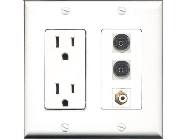 RiteAV - 15 Amp Power Outlet 1 Port RCA White 2 Port Toslink Decora Wall Plate