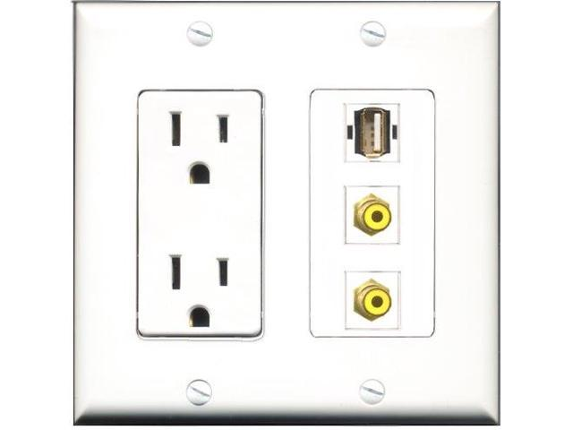 RiteAV - 15 Amp Power Outlet 2 Port RCA Yellow 1 Port USB A-A Decora Wall Plate