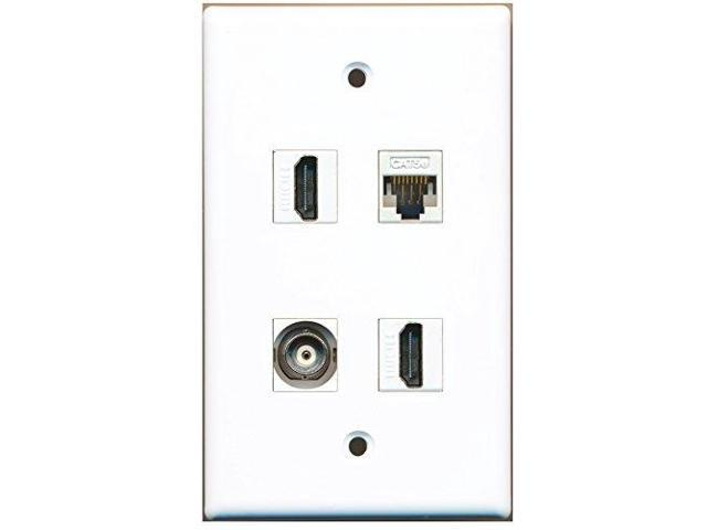 RiteAV - 2 Port HDMI 1 Port BNC 1 Port Cat5e Ethernet White Wall Plate