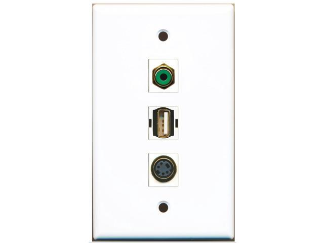 RiteAV - 1 Port RCA Green and 1 Port USB A-A and 1 Port S-Video Wall Plate