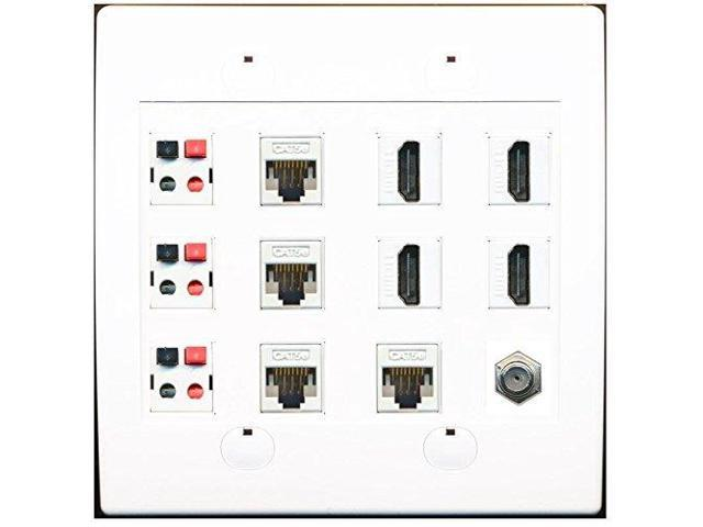 riteav 4 port hdmi 4 cat5e ethernet 3 speaker jacks and coax cable tv wall plate