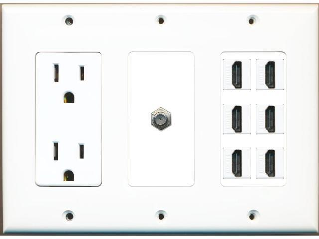 RiteAV 6 Hdmi Coax Power Outlet Wall Plate White