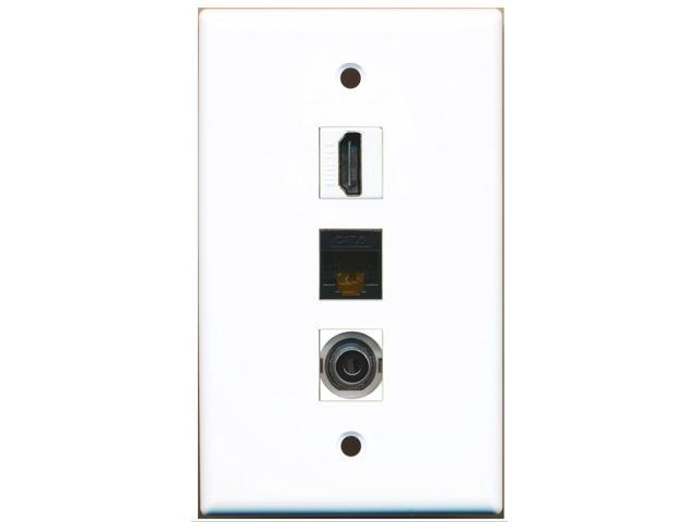 RiteAV - 1 Port HDMI and 1 Port 3.5mm and 1 Port Cat6 Ethernet Black Wall Plate