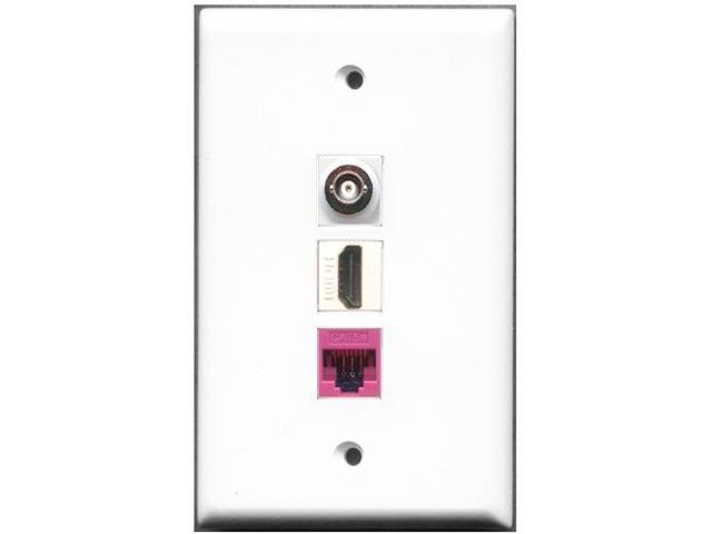 RiteAV - 1 Port HDMI 1 BNC 1 Cat5e Ethernet Pink Wall Plate
