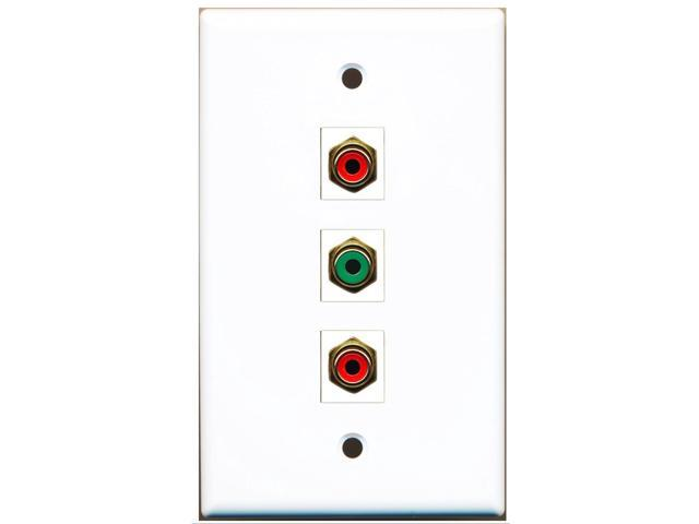 RiteAV - 2 Port RCA Red and 1 Port RCA Green Wall Plate