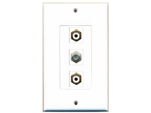 RiteAV - 2 Port RCA White and 1 Port Coax Cable TV- F-Type Decora Wall Plate ...