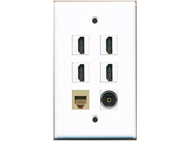 RiteAV - 4 HDMI 1 Port Phone RJ11 RJ12 Beige 1 Port Toslink Wall Plate