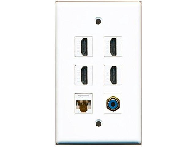 RiteAV - 4 HDMI 1 Port RCA Blue 1 Port Cat6 Ethernet White Wall Plate