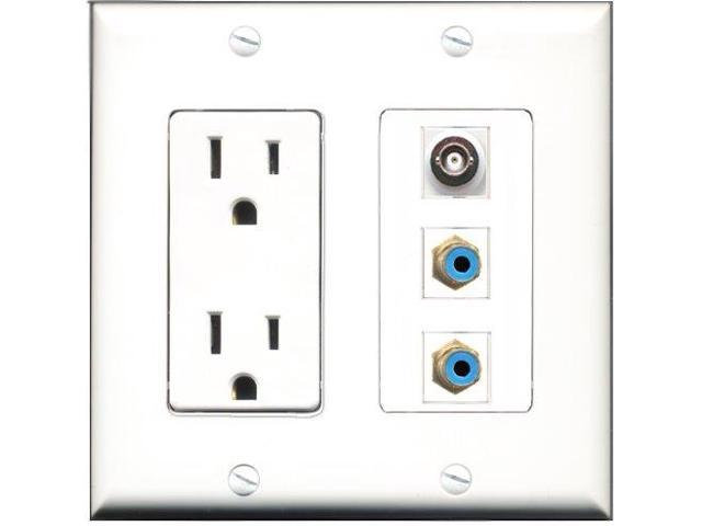RiteAV - 15 Amp Power Outlet 2 Port RCA Blue 1 Port BNC Decora Wall Plate