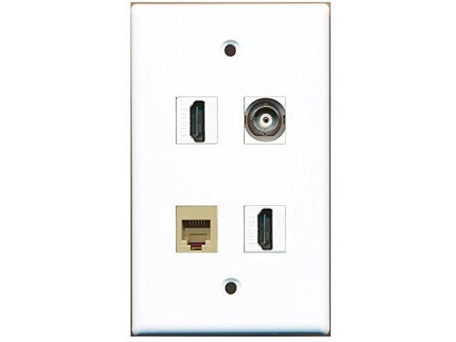 RiteAV - 2 Port HDMI 1 Port Phone RJ11 RJ12 Beige 1 Port BNC Wall Plate
