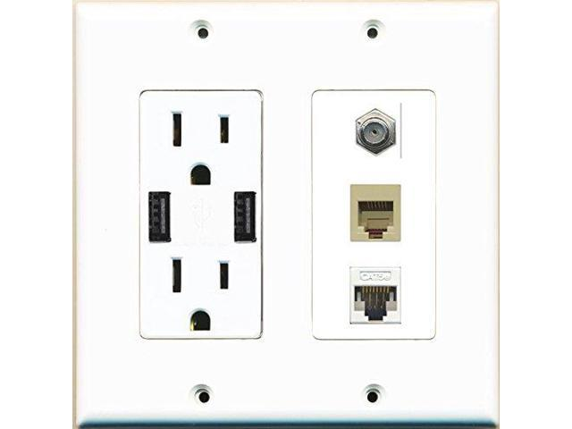 RiteAV Power Outlet 2 USB Charger Coax Cat5E Rj11/12 Beige Wall Plate White