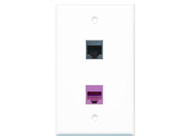 RiteAV - 1 Port Cat6 Ethernet Purple 1 Port RJ45 Shielded Wall Plate
