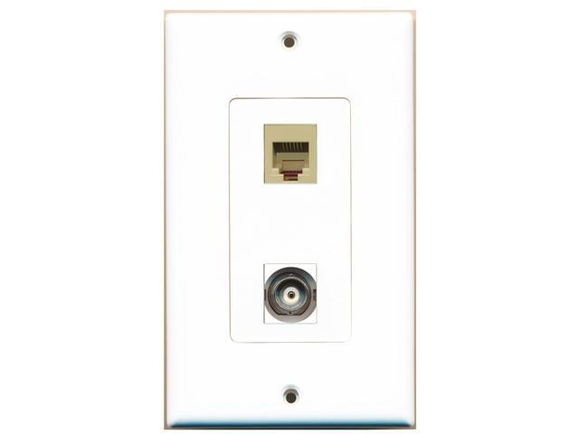 RiteAV - 1 Port Phone RJ11 RJ12 Beige 1 Port BNC Decorative Type Wall Plate