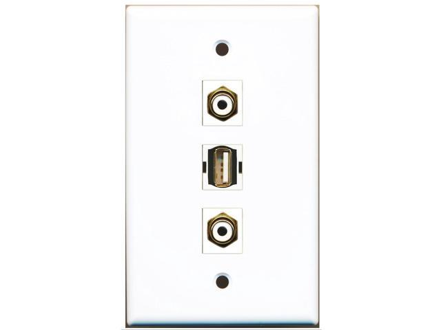 RiteAV - 2 Port RCA White and 1 Port USB A-A Wall Plate